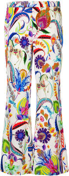 Etro mixed floral cropped trousers