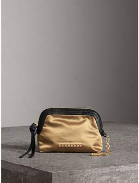 Burberry Small Zip-top Leather-trimmed Technical Nylon Pouch - GOLD/BLACK - STYLE