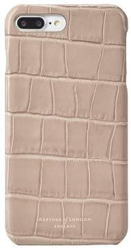 Aspinal of London   Iphone 7 Plus Leather Cover In Deep Shine Soft Taupe Croc   Deep shine soft taupe croc
