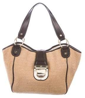 MICHAEL Michael Kors Leather-Trimmed Raffia Shoulder Bag