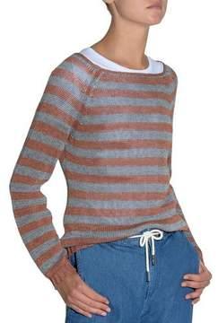 Eleventy Striped Wide-Neck Linen Sweater