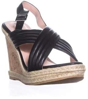 Callisto Puff Crisscross Platform Wedge Sandals, Black.