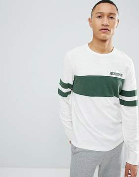 Abercrombie & Fitch Varsity Chest Stripe Lightweight Sweatshirt in White