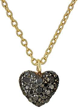 Finn Women's Black-Diamond Puffed Heart Necklace