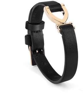 Aspinal of London Stirrup Bracelet In Smooth Black