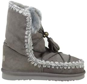 Mou Boot eskimo Dream In Gray Suede With Drawstring