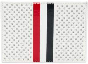 Thom Browne Single Card Holder With Red, White And Blue Vetrical Stripe In Perforated Pebble Grain & Calf Leather