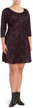 Alexia Admor Women's Floral Fit-&-Flare Dress - Burgundy, Size 1x (14-16)