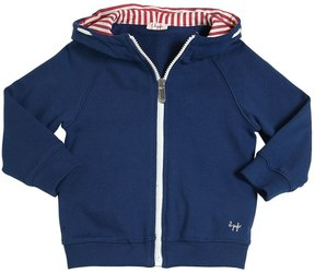 Il Gufo Hooded Cotton Zip Up Sweatshirt