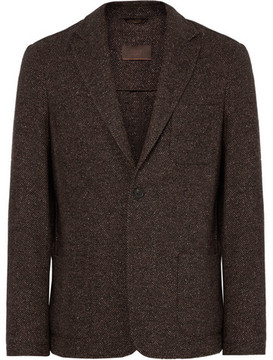 Altea Brown Tray Unstructured Wool-Blend Tweed Blazer