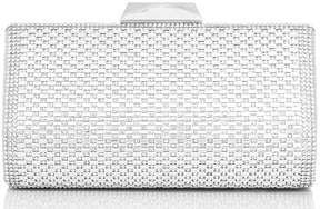 *Quiz Silver Diamante Box Clutch Bag