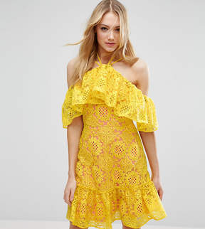 Asos Tall TALL PREMIUM Lace Off Shoulder Dress With Contrast Lining