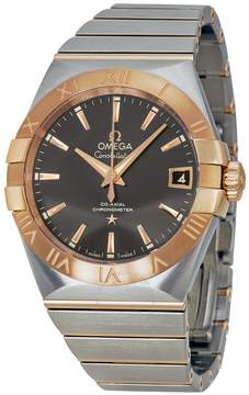 Omega Constellation Grey Dial Steel and 18kt Rose Gold Automatic Men's Watch