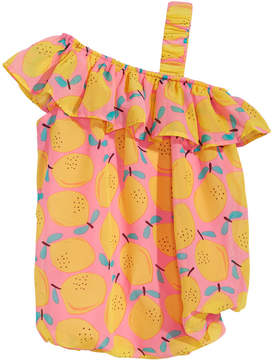 First Impressions Baby Girls Lemon-Print Off-the-Shoulder Romper, Created for Macy's