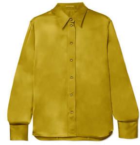 Bottega Veneta Washed Silk-satin Shirt - Mustard