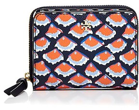 Tory Burch Kerrington Zip Leather Coin Case - FIORI BLUE MULTI/GOLD - STYLE