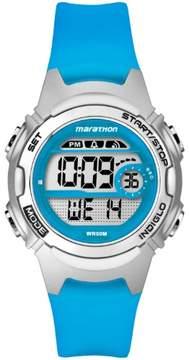 Timex Marathon by Women's Digital Mid-Size Watch, Translucent Blue Resin Strap