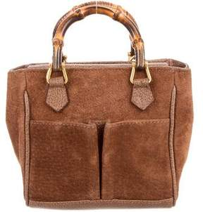 Gucci Mini Suede Bamboo Bag - BROWN - STYLE