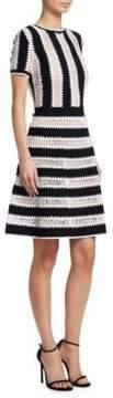Carolina Herrera Knit Striped Lace Dress
