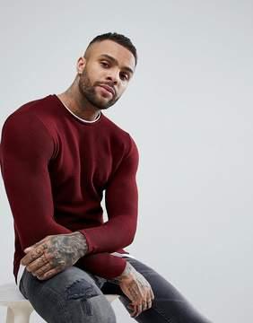 Pull&Bear Double Layer Sweatshirt In Burgundy