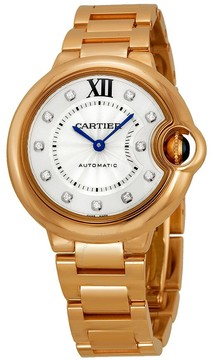 Cartier Ballon Bleu Silver Dial 18kt Rose Gold Automatic Ladies Watch