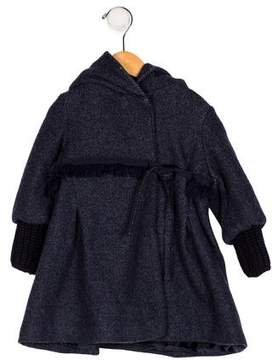 Ermanno Scervino Girls' Hooded Fringe-Trimmed Coat