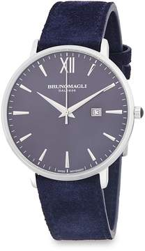Bruno Magli Men's Stainless Steel Analog Leather-Strap Watch