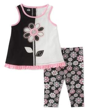 Kids Headquarters Baby Girl's Two-Piece Floral Tunic and Capri Pants Set