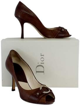 Christian Dior Brown Crackled Leather Peep Toe Logo Heels