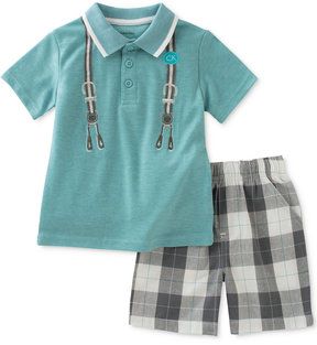 Calvin Klein 2-Pc. Polo Shirt & Plaid Shorts Set, Baby Boys (0-24 Months)