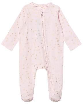 Aden Anais Aden + Anais Pale Pink with Gold Star Long Sleeve Zipper Metallic Babygrow