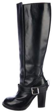 Chloé Leather Round-Toe Knee-High Boots