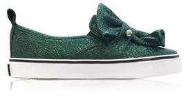 RED Valentino Women's Green Leather Slip On Sneakers.
