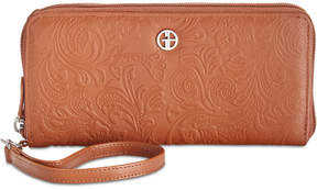 Giani Bernini Sandalwood Tooled Zip-Around Wallet, Created for Macy's