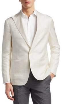 Ralph Lauren Purple Label Tonal Houndstooth Silk Jacket