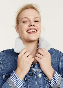 Violeta BY MANGO Embroidered faux-shearling denim jacket