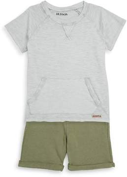 Hudson Little Boy's Two-Piece Short-Sleeve Cotton Tee and Shorts Set