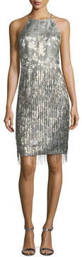 Badgley Mischka Halter-Neck Sleeveless Fringe Cocktail Dress
