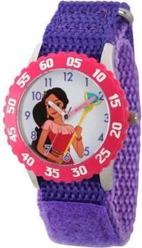 Disney Elena of Avalor, Elena Girls' Stainless Steel Time Teacher Watch, Pink Bezel, Purple Hook and Loop Nylon Strap