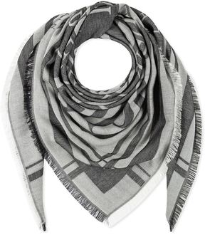 Philipp Plein Black-white-grey Printed Silk-modal Paul Square Scarf