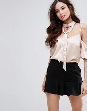 Fashion Union Cold Shoulder Top With Choker Detail