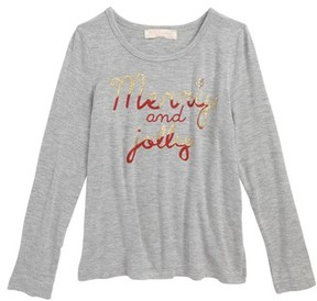 Truly Me Toddler Girl's Merry & Jolly Screenprint Tee