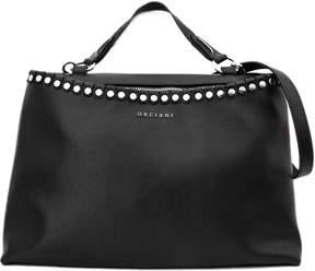 Orciani Black Leather Large Bag.