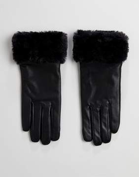 French Connection Fur Trim Gloves in Leather