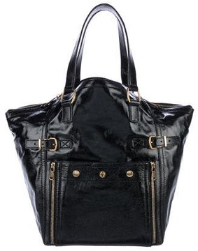 Saint Laurent Leather Downtown Tote - BLACK - STYLE
