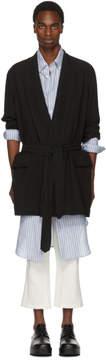 Ann Demeulemeester Black Crepe Robe Coat