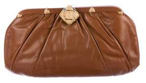 Judith Leiber Pleated Leather Frame Clutch