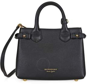Burberry Small Banner House Check Derby Tote - Black
