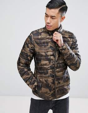 Pull&Bear Quilted Jacket In Light Khaki