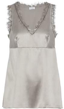Brunello Cucinelli Scalloped Bead-Embellished Silk-Blend Satin Top